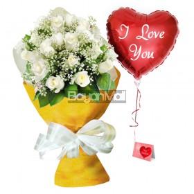 24 White Roses Premium Bouquet - Infinity Love