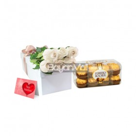 6 Pieces White Roses Package