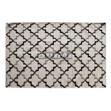 1411 Hand Woven Rug Ivory and Gray