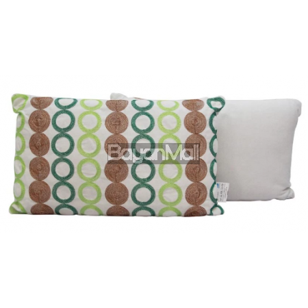 DZ1262 Blueand Green Circle Embroidered Pillow