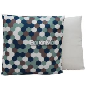 JNY14122 BLUE HEXAGON PRINT PILLOWS