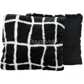 JNY14330 BLACK SQUARE FUR PILLOW