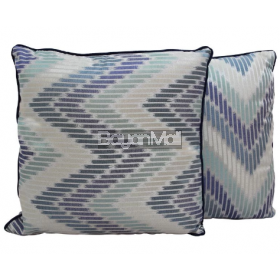 R004-TH454-1 BLUE ZIGZAG JACQUARD CUSHION THROW PILLOW