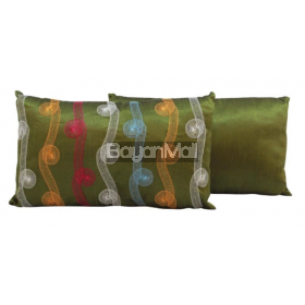 R0118-Q534-2 GREEN EMBROIDERY ON POLYSILK KIDNEY PILLOW