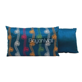 R0118-Q534-4 BLUE EMBROIDERY ON POLYSILK KIDNEY PILLOW