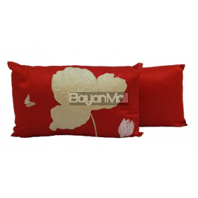 R0118-Q776-3RED WHITE+FLOWER EMBROIDERY ON POLYSILK CUSHION KIDNEY PILLOW