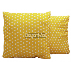 ROO40-C746-1 PRINT ON MICROFIBER YELLOW WITH DOTS FLOOR PILLOW