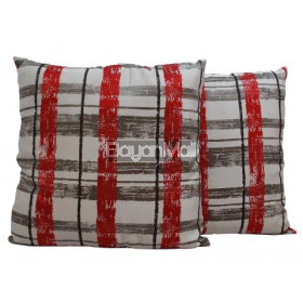 ROO40-TH531 JACQUARD RED AND GREY LINES FLOOR PILLOW