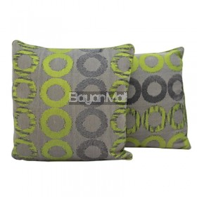 TH624 GREEN CIRCLES JACQUARD PILLOW