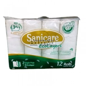 Sanicare Ecoloyers 12 Rolls Tissue