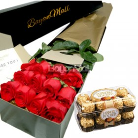1 box of red roses and 16 ferrero