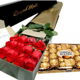 1 box red roses with 24pieces of ferrero