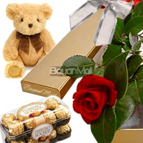 1 stem of red rose with 16 ferrero and 6 IN bear