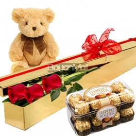 3 roses with 16 ferrero and 6 IN bear