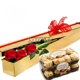 3 roses with 16 pieces ferrero