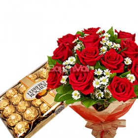 1 dozen bouquet of red roses and 24 pieces of ferrero