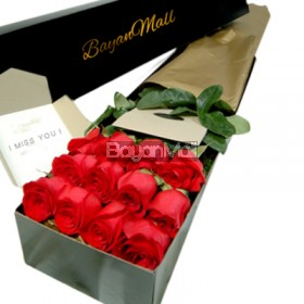 1 box of red roses