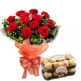 1 dozen bouquet of red roses with 16 pieces of ferrero