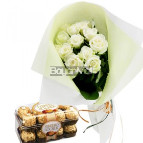 1 dozen bouquet of white roses with 16 pieces of ferrero
