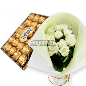 1 dozen bouquet of white roses with 24 pieces of ferrero
