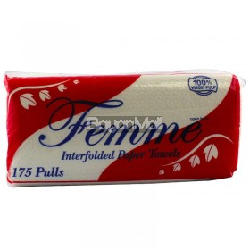 Femme Interfolded Paper Towels (175 single Ply  pulls) 210g