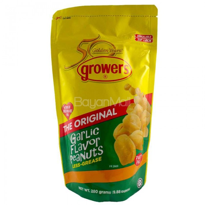 Growers The Original Garlic Flavor Peanuts Net Wt 280 Grams