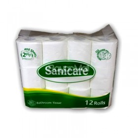 Sanicare Bathroom Tissue 2 Ply - 12 rolls (400 sheets)