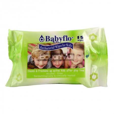 Babyflo Antibacterial Wipes For Kids 15 Wipes 70g