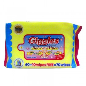 Giggles Baby wipes Unscented 70 Wipes (150mmx200mm)