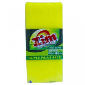 Zim Cleaning Pads Scrub Sponge Triples (100mmx75mmx30mm)