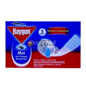 Baygon Mat Anti-Dengue Mosquitoes ( 1 Heater + 5 Mats ) 3.6g