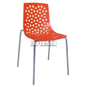 8091c Orange Pp Chair + Chromed Legs