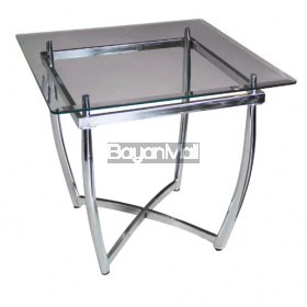 Et3056 Glass + Chrome Side Table