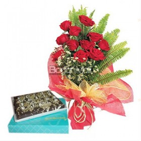 (Promo Combo 4) 12 Red Roses Bouquet with Chocolate Brownie