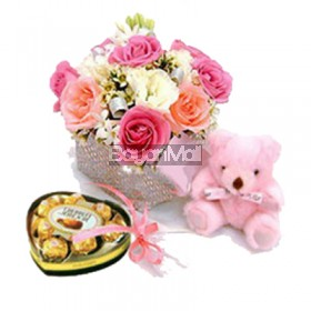 1 Dozen Mixed Roses in a Vase with Small Pink Teddy Bear and Heart Shapped Ferrero Chocolate