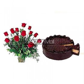 1 Dozen Red Rose in a Vase with Home Made Chocolate Cake