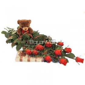 1 Dozen Red Roses in a Vase with Bear & Chocolates
