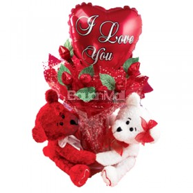 2 Bear Hug With Balloon and 6 Roses in a Vase and Hershey Kisses