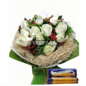 White Roses in a Bouquet with Cadburry Chocolate