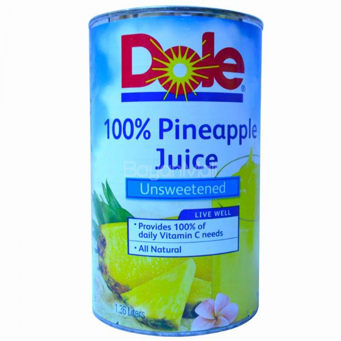 dole 100 pineapple juice unsweetened 136l in can